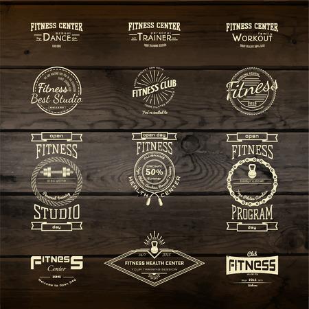 saludable logo: Centro de fitness insignias logotipos y etiquetas para cualquier uso, de madera de textura de fondo Vectores