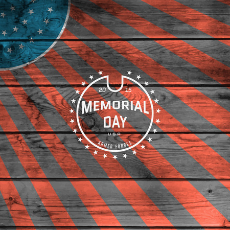 Memorial day, badges and labels for any use, against the backdrop the American flag Illustration