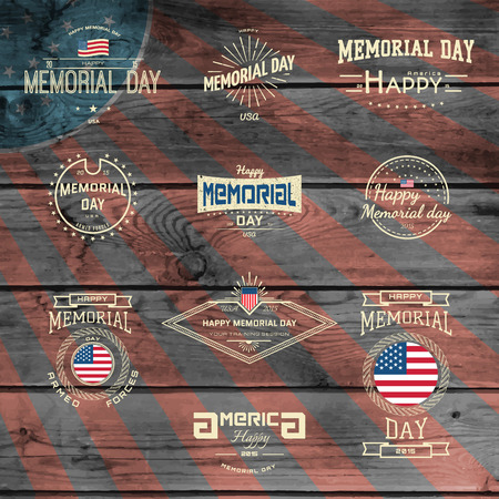 memorial day: Memorial day, badges logos and labels for any use,  on wooden background texture