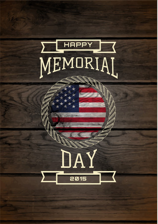Memorial day, badges and labels for any use,  on wooden background texture Çizim