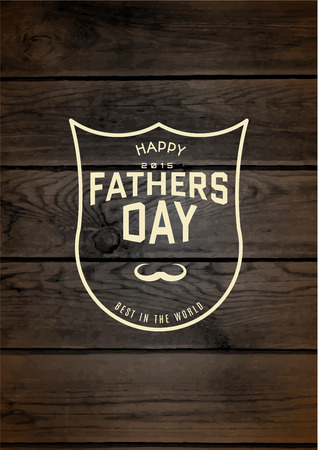 Fathers day badges and labels for any use, on wooden background texture
