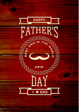 fathers day: Fathers day badges and labels for any use, on wooden background texture