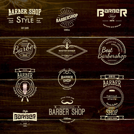 Barbershop badges logos and labels for any use,  on wooden background texture