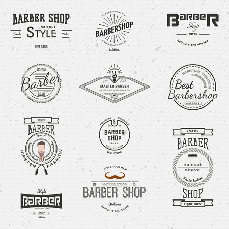 Barbershop badges  and labels for any use,  on a white background