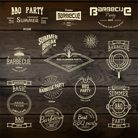 BBQ badges  and labels for any use, on a white background Illustration