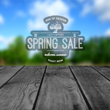 spring tree: Spring sale badges logos and labels for any usem on wooden background texture