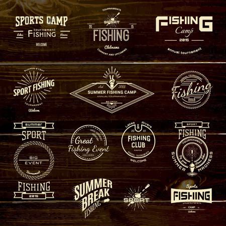 fishing lake: Fishing badges logos and labels for any use, on a white background