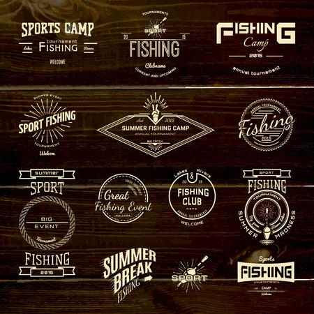 pesca: Pesca insignias logotipos y etiquetas para cualquier uso, sobre un fondo blanco Vectores