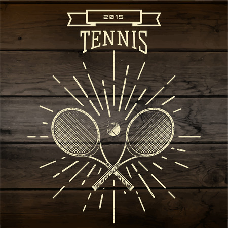 Tennis badges icon and labels for any use,  on wooden background texture  イラスト・ベクター素材