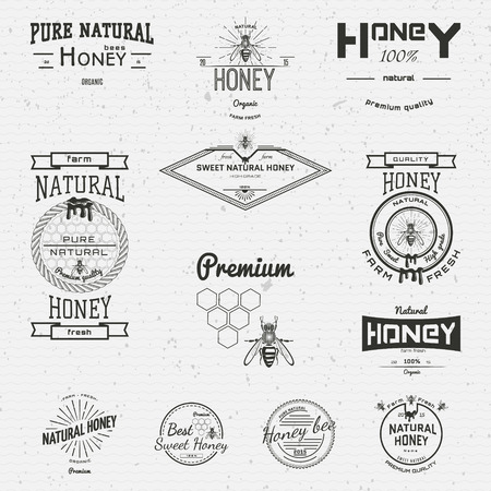 bee honey: Honey badges icons and labels for any use, on a white background