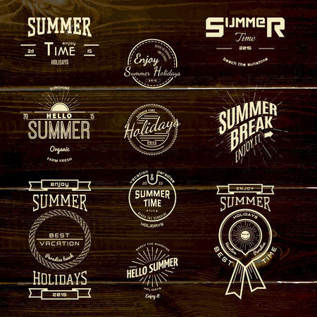 Summer holidays badges logos and labels for any use, on wooden background texture