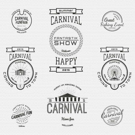 amusement park background: Carnival badges  labels for any use, on a white background Illustration