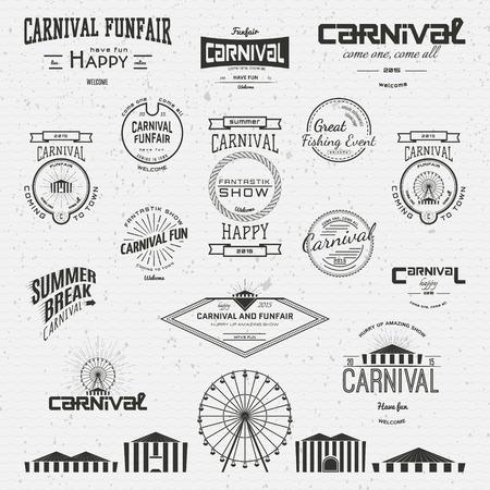 carnival: Carnaval insignias etiquetas para cualquier uso, sobre un fondo blanco Vectores