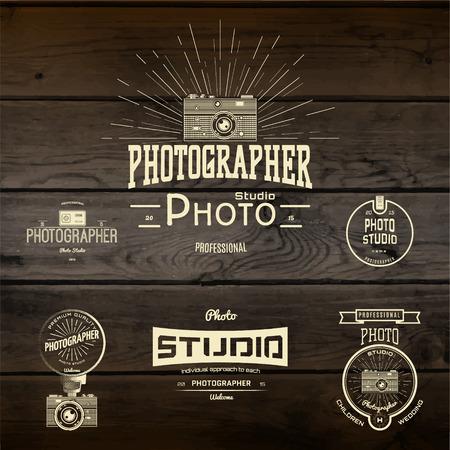 Badges de photographie et des étiquettes pour toute utilisation, de la texture de fond en bois Banque d'images - 40913069
