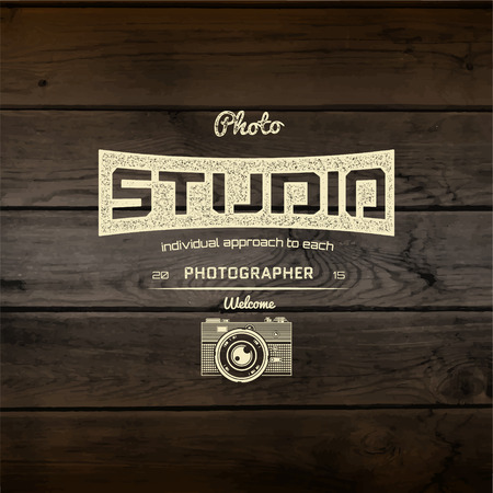 photography icons: Photography  badges and labels for any use, On wooden background texture