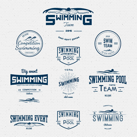 Swimming badges logos and labels for any use. on a white background