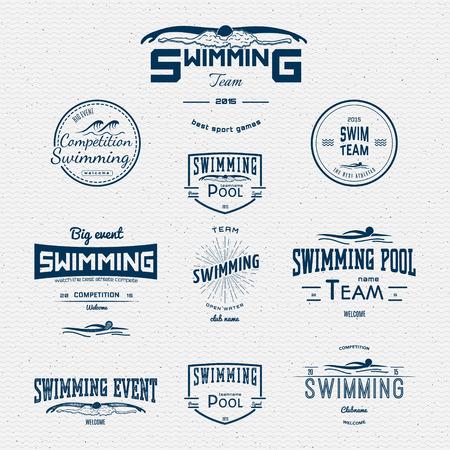Schwimmen Abzeichen-Logos und Etiketten für die weitere Verwendung. auf einem weißen Hintergrund Standard-Bild - 41099848