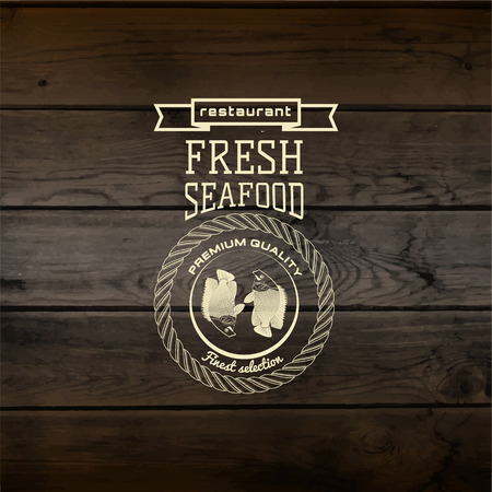 fresh seafood: Seafood badges logos and labels for any use. On wooden background texture