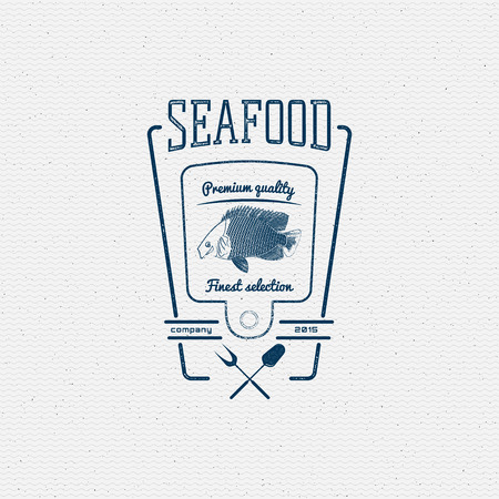 Seafood badges  and labels for any use. on a white background Vector