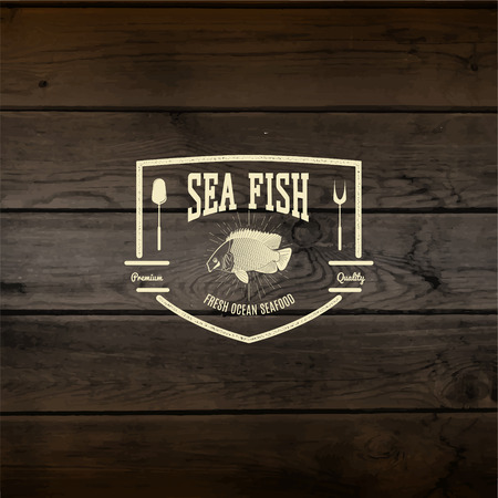 Seafood badges logos and labels for any use. On wooden background texture Vector