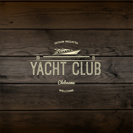 barque: Yacht club badges logos and labels for any use, On wooden background texture