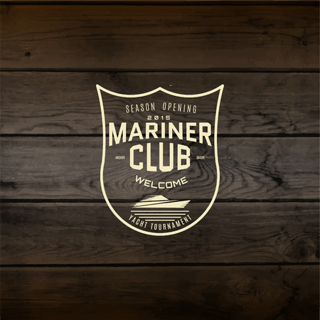 barque: Mariner club badges  and labels for any use, On wooden background texture Illustration