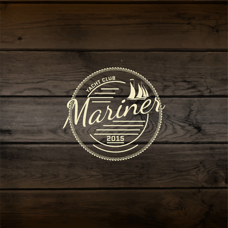 mariner: Mariner club badges  and labels for any use, On wooden background texture Illustration