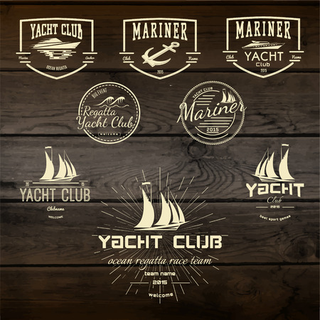 Yacht club badges logos and labels for any use. On wooden background texture