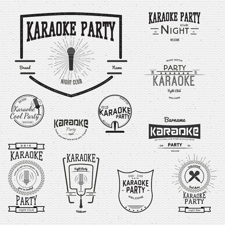 grunge music background: Karaoke icons logos and labels for all your design and use of presentations Illustration