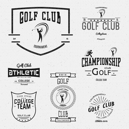 golf clubs: Golf club badges logos and labels for any use, On a white background