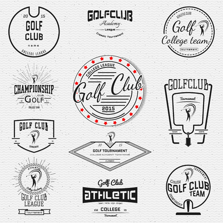 ゴルフクラブのロゴのバッジ、白い背景の上の任意の使用のためのラベル