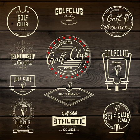 Golf club badges  labels for any use. On wooden texture Illustration