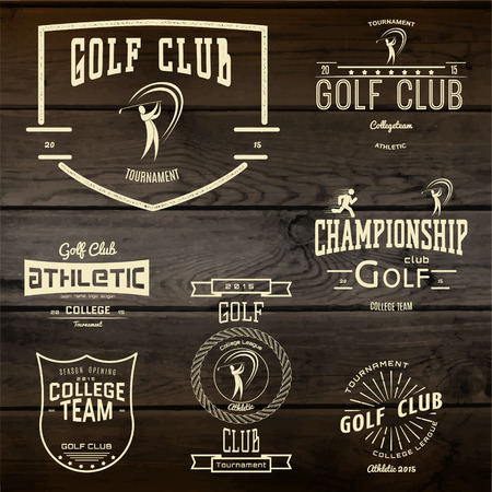 golf stick: Golf club badges  and labels for any use. On wooden texture
