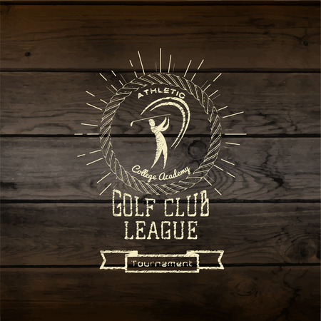 golf balls: Golf club badges  labels for any use. On wooden texture Illustration