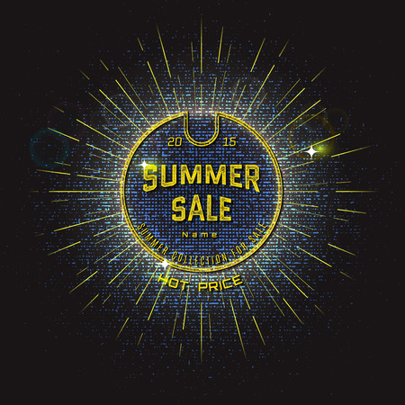 effects of lighting: Summer sale badges   labels for any use. With lighting effects and bokeh for your design Illustration