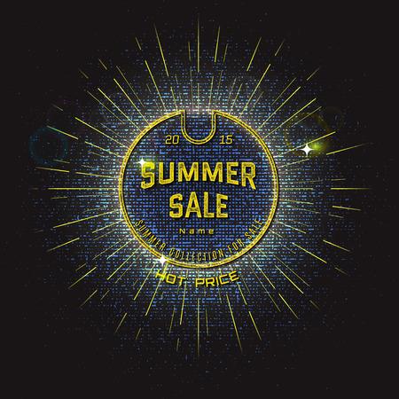 lichteffekte: Summer sale badges Etiketten f�r jeden Einsatz. Mit Lichteffekten und Bokeh f�r Ihr Design Illustration