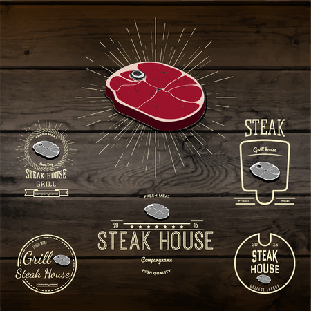 deli meat: Steak house badges and labels for any use, for example, to design your store, on wooden texture