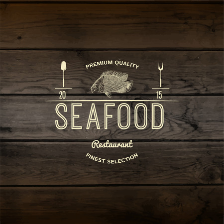mariscos: Insignias y etiquetas Marisco para cualquier uso. En madera de textura de fondo