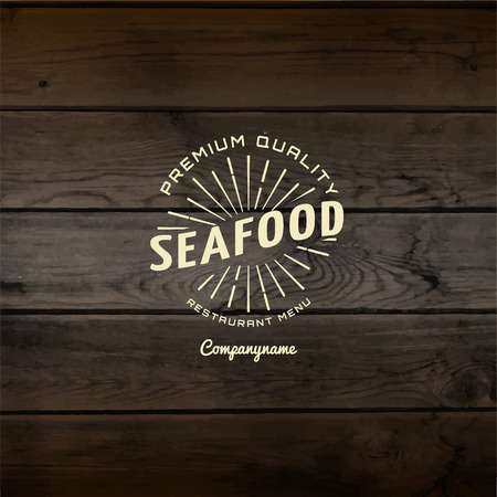 seafood background: Seafood badges  and labels for any use. On wooden background texture Stock Photo