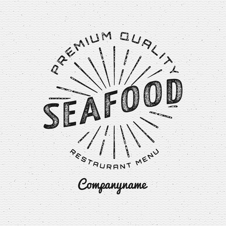 seafood background: Seafood badges  and labels for any use. on a white background