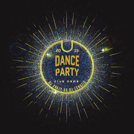 event party: Dance party badges   labels Neon for any use, for example for branding parties