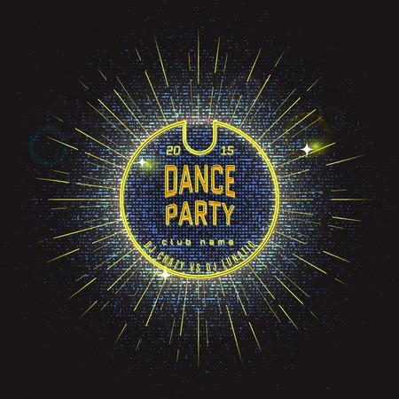 baile: insignias del partido de baile etiquetas de neón para cualquier uso, por ejemplo para los partidos de marca Vectores