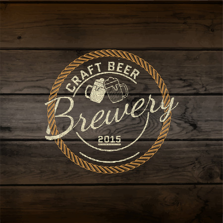 beer house: Brewery badges   labels for any use,   templates and design elements for beer house, bar, pub, brewing company, brewery, tavern, restaurant, on wooden background texture
