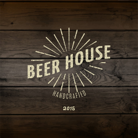 Beer house badges   labels for any use,   templates and design elements for beer house, bar, pub, brewing company, brewery, tavern, restaurant, on wooden background texture