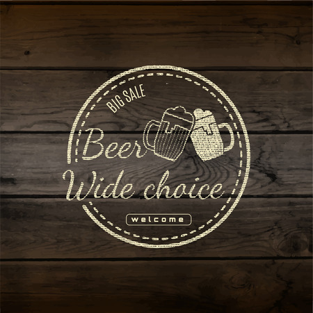 beer house: Beer badges    labels for any use,  templates and design elements for beer house, bar, pub, brewing company, brewery, tavern, restaurant, on wooden background texture