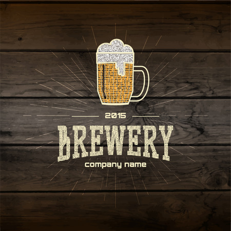 Brewery badges logos and labels for any use, logo templates and design elements for beer house, bar, pub, brewing company, brewery, tavern, restaurant, on wooden background texture Çizim