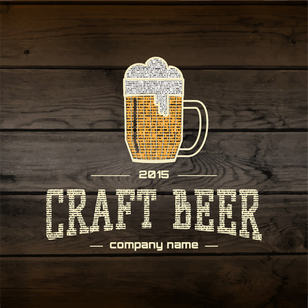 craft background: Craft beer badges  labels for any use,  templates and design elements for beer house, bar, pub, brewing company, brewery, tavern, restaurant, on wooden background texture Illustration