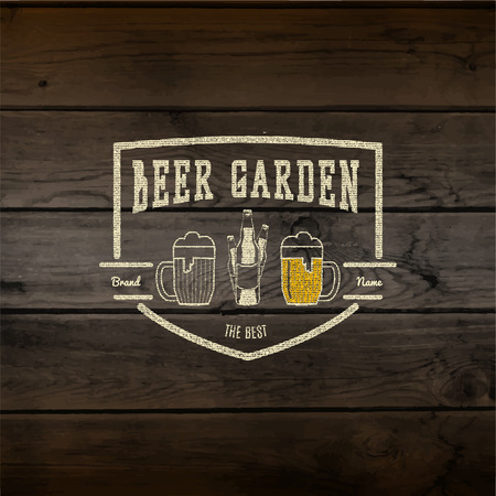 Beer garden badges  labels for any use,    templates and design elements for beer house, bar, pub, brewing company, brewery, tavern, restaurant, on wooden background texture