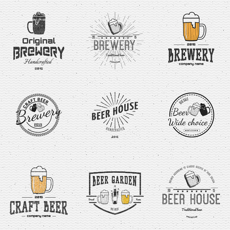 Beer badges  labels for any use,   templates and design elements for beer house, bar, pub, brewing company, brewery, tavern, restaurant.
