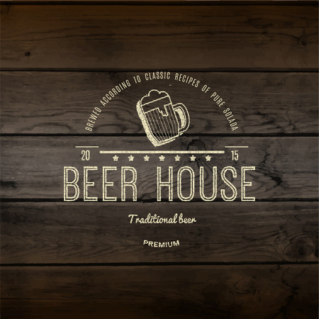 beer house: Beer house  badges    labels for any use,  templates and design elements for beer house, bar, pub, brewing company, brewery, tavern, restaurant, on wooden background texture